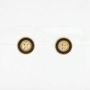 Tory Burch Milgrain Logo Leather Earring Black